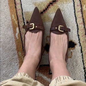 Prada leather pumps gold detail 38